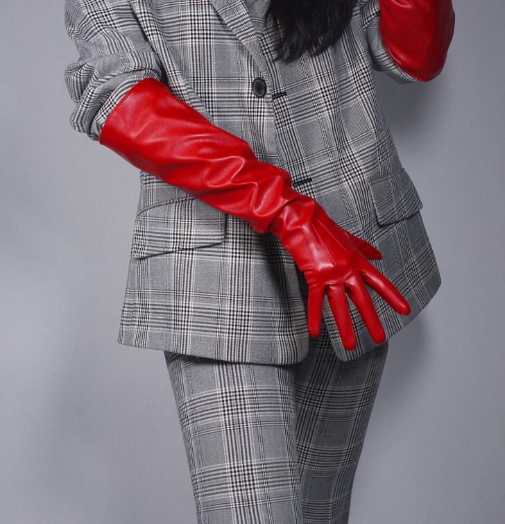 Women's fashion sexy wide sleeve faux pu leather glove lady's club performance formal party  leather long red glove 50cm R1965