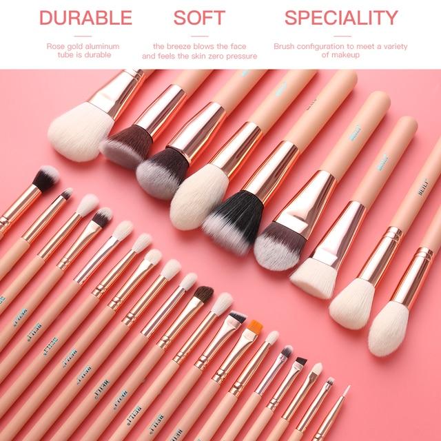 BEILI Pink Makeup Brushes High Quality Powder Foundation Blush Eyeshadow Make Up Brush Set  Natural Hair  brochas maquillaje 2