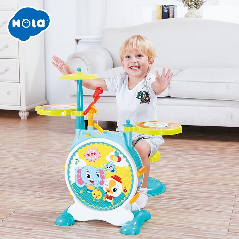 Kinderen Kids Jazz Drum Set Kit Musical Instrument Educatief Speelgoed Drums Kruk Drum Sticks Voor Kinderen - 4