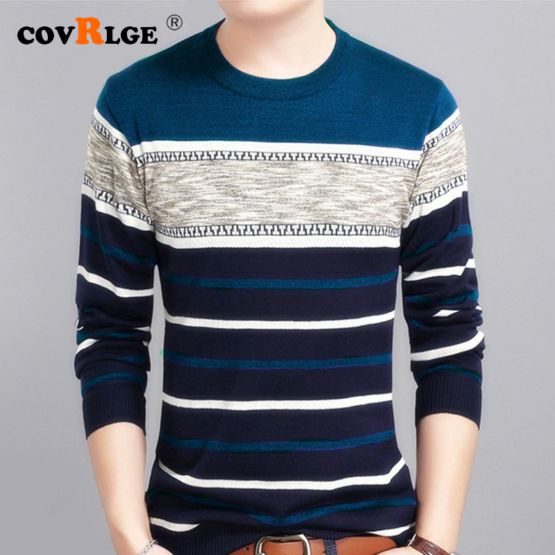 Covrlge Casual Men's Sweater 2019 Spring Autumn O-Neck Striped Slim Knittwear Mens Sweaters Pullovers Pullover Men M-3XL MZM050