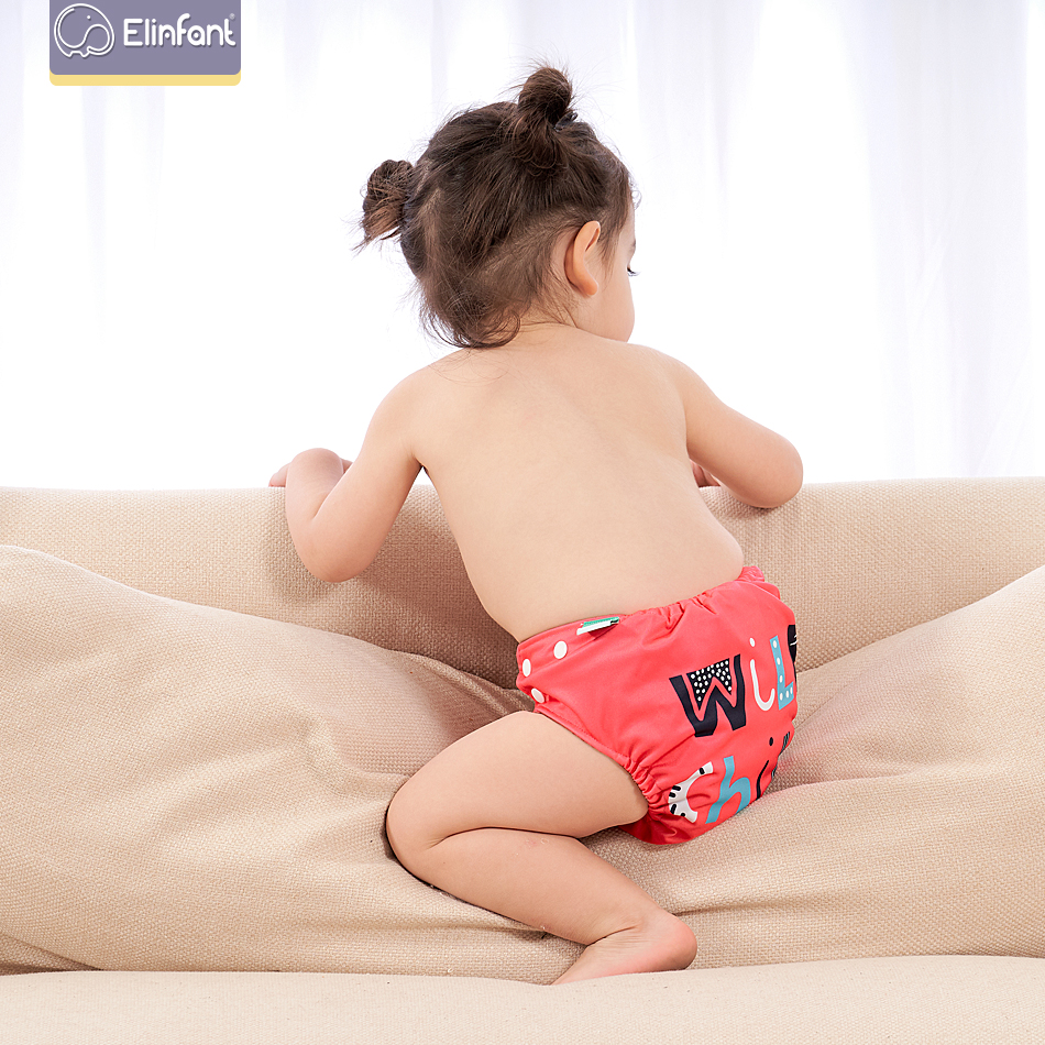 Elinfant Position Digital Cloth Diaper Eco-friendly Washable Pocket Diaper Reusable Coffee Fast Dry Christmas Baby Nappy