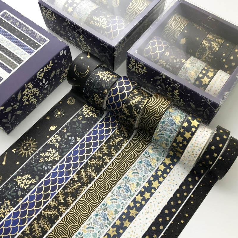10 Pcs/Set Black Gold Washi Tape Vintage Galaxy Masking Tape Cute Decorative Adhesive Tape Sticker Scrapbooking Diary Stationery 2