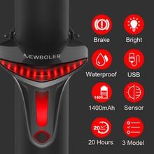 NEWBOLER Sensor de freno Luz trasera de bicicleta Auto Start Stop USB Luces de bicicleta LED Ciclismo Luz trasera Linterna para accesorios de bicicleta