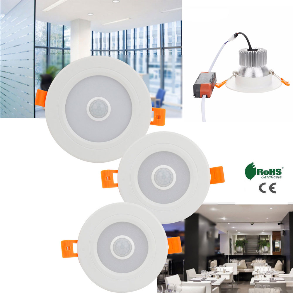 Встраиваемая светодиодная лампа направленного света s инфракрасный датчик движения из PIR AC 110V 220V 3W 5W 7W 9W светодиодный ная лампа холодного бе...