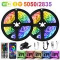 12V RGB Светодиодные ленты светильник s Bluetooth WiFi Luces LED DC 5050 SMD2835 гибкий Водонепроницаемый лента диод дистанционного Управление светильник для к...