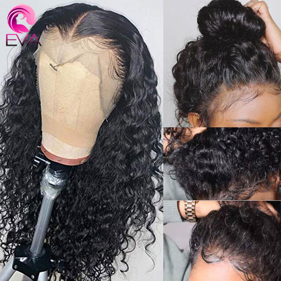 Wig Human-Hair Lace-Frontal Curly Glueless Brazilian Eva 360 with Bleached Knots Remy title=
