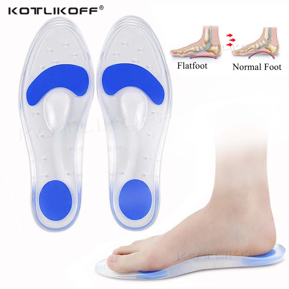 Medical Silicone Orthotic Insoles For Flat Feet Arch Support Orthopedic Soft Shoes Sole Insert Heel Pain Plantar Fasciitis Pads