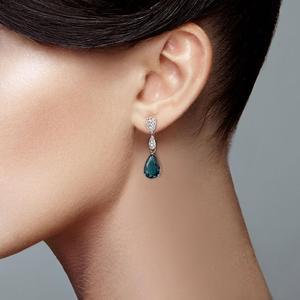 Image 5 - SANTUZZA Silver Drop kolczyki 925 srebro dla kobiet Magic Green Crystal biała cyrkonia sześcienna biżuteria