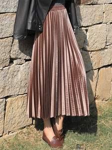 Skirts Womens Velvet Long-Pleated Sexy Vintage Winter Korean Plus-Size Autumn High-Waist