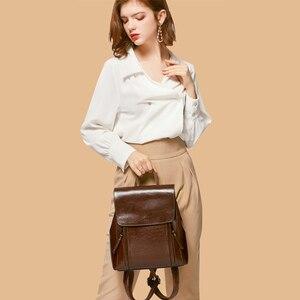Image 2 - Yonder kobiety plecak szkolne torby dla nastolatków dziewczyny prawdziwy skórzany plecak szkolny dla kobiet o dużej pojemności mochila brown 2019
