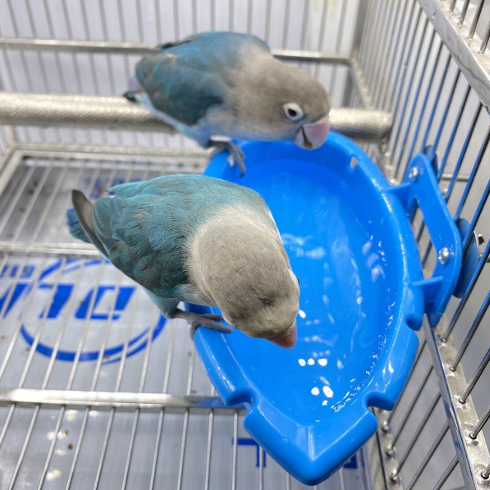 Bird Baths Tub Bowl Basin Parrot Cage Hanging Bathing Box Bird Birdbath Tub Parrot Bath Supplies Bath Room Feeder 5