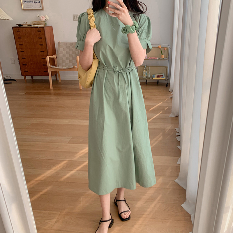 Women Summer Green Cotton Short Sleeve Long Dress Vintage Sashes Solid Color Sundress Cuff Cut
