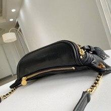 Genuine Leather waist bag sheepskin material ins style Internet celebrities Leisure Girl crossbody chest bag fanny bag black