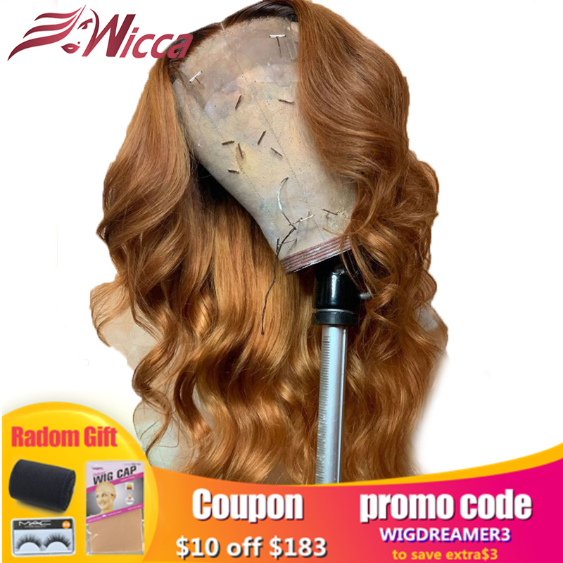 Wicca Loose Wave Ombre Color 13X6 Lace Front Human Hair Wigs With Baby Hair 8-24 Inches Brazilian Remy Hair Bleached Knots