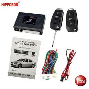 Hippcron Car Central Door Lock Auto Keyless Entry System Button Start Stop Keychain Central Kit Universal Car 12V
