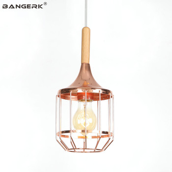 Simple Modern LED Pendant Lamp Loft Decor Rose Gold Iron Wood Hanging Lights Dining Room Bedroom Bar Home Lighting Droplight