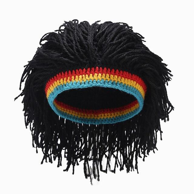 Rasta Wig czapka zimowa dla mężczyzn ręcznie robiona na szydełku zimowa ciepła czapka Gorros halloweenowe świąteczne prezenty urodzinowe zabawna kominiarka