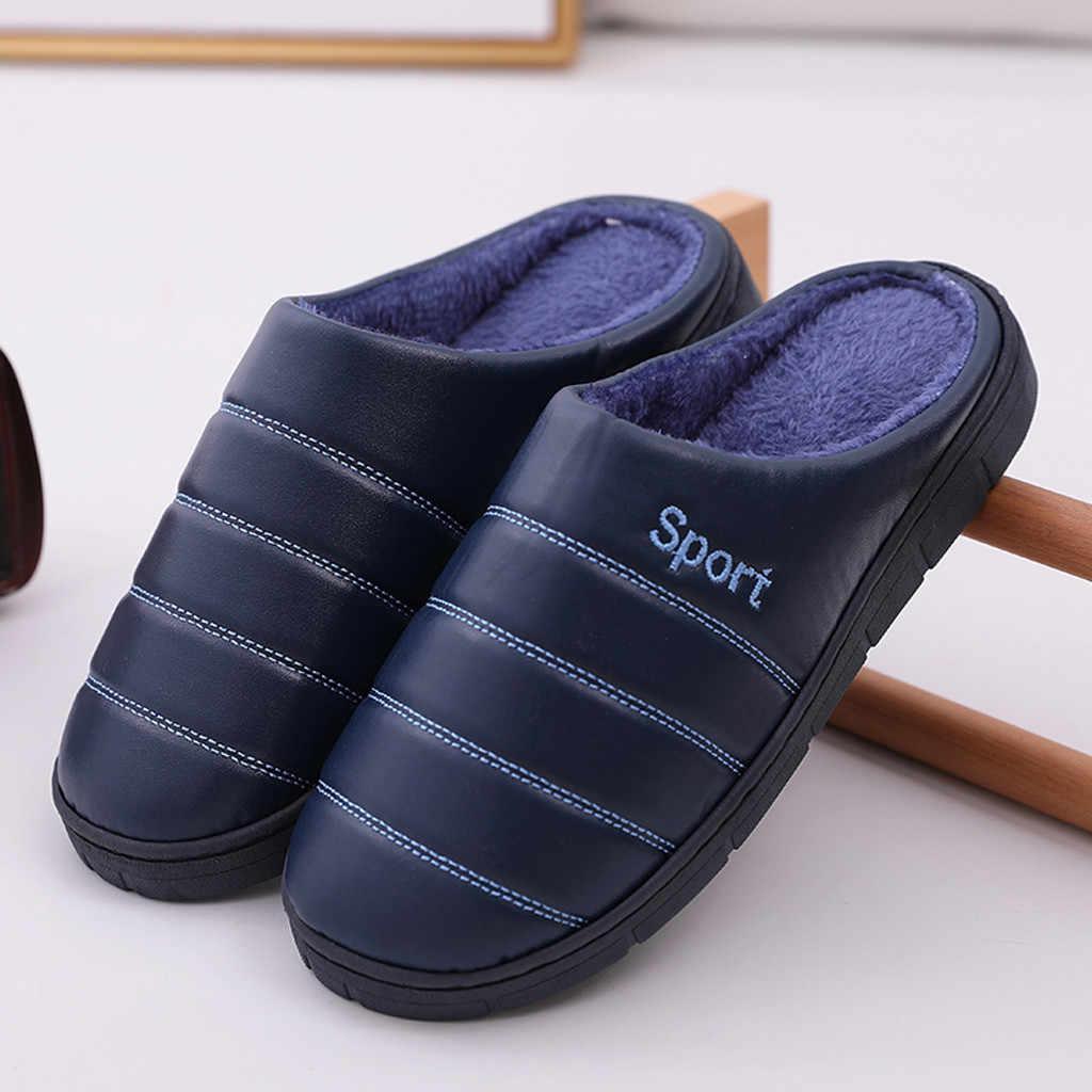 Erkek büyük boy rahat ev kürk artı kadife sıcak ayakkabı kadın slaytlar artı boyutu rahat pamuk terlikler erkekler için Dropshipping