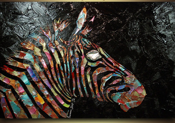 Large Hand Painted Colorful Zebra Oil Paintings Abstract Palette Knife Textured Oil Painting Home Goods Painting Vinicor Art