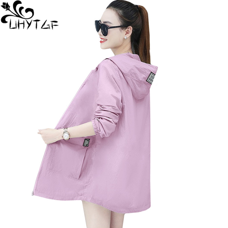 UHYTGF Loose 5XL Oversized Sun Protection Clothing Long Sleeve Anti-UV Outdoor Summer Top Jacket Women Breathable Thin Coat 1059