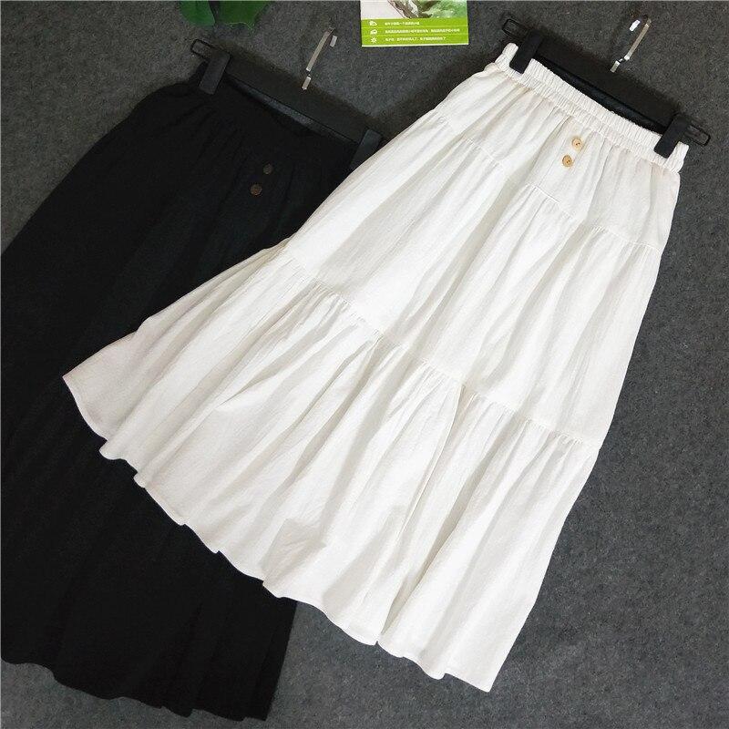 2020 New High Waist Women Summer Long White Cotton And Linen Long Skirt Saia Women A-Line Boho Skirt Faldas Jupe Femme