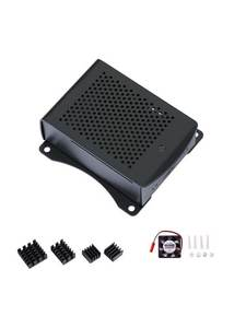 4-Module Hanging-Bracket Raspberry Pi Heatsink Aluminum-Case with Compatible Fan Fan