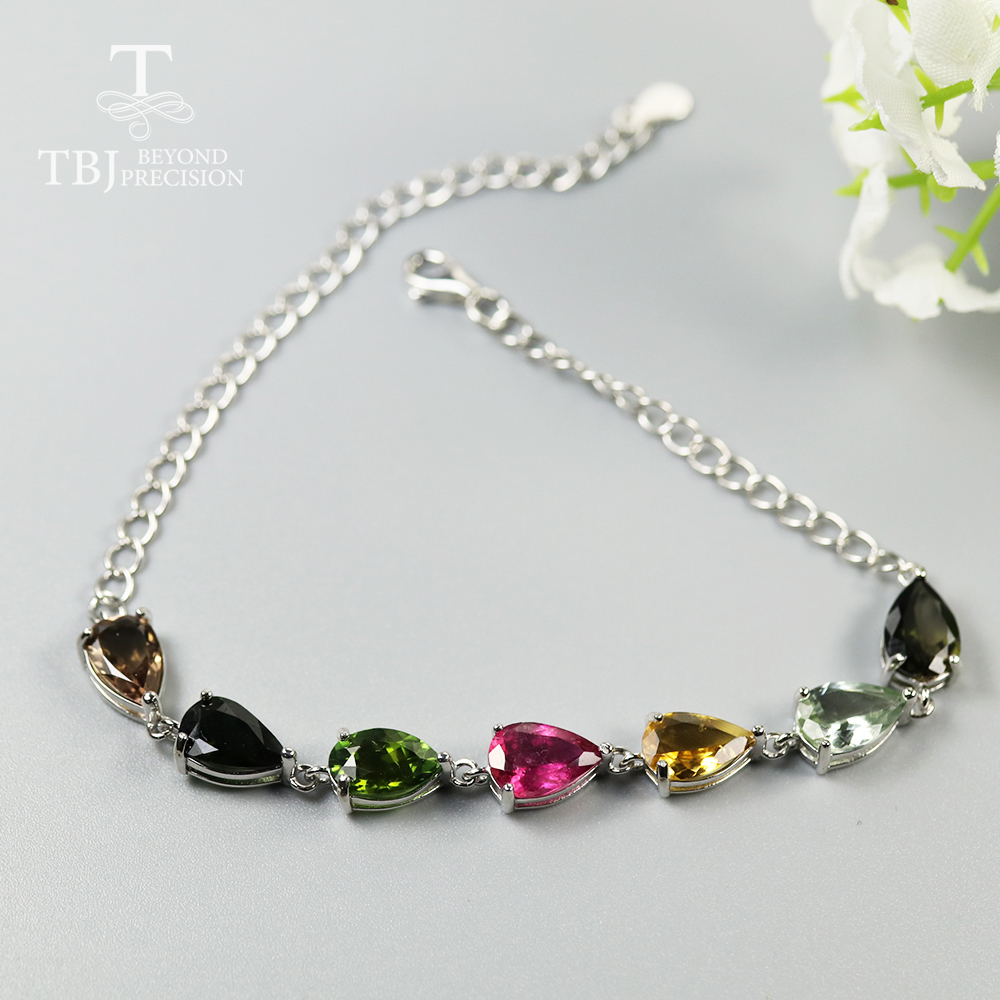 100% natural Brazil colorful Tourmaline Bracelet real gemstone fine jewelry 925 sterling silver for women mom wife daily wear