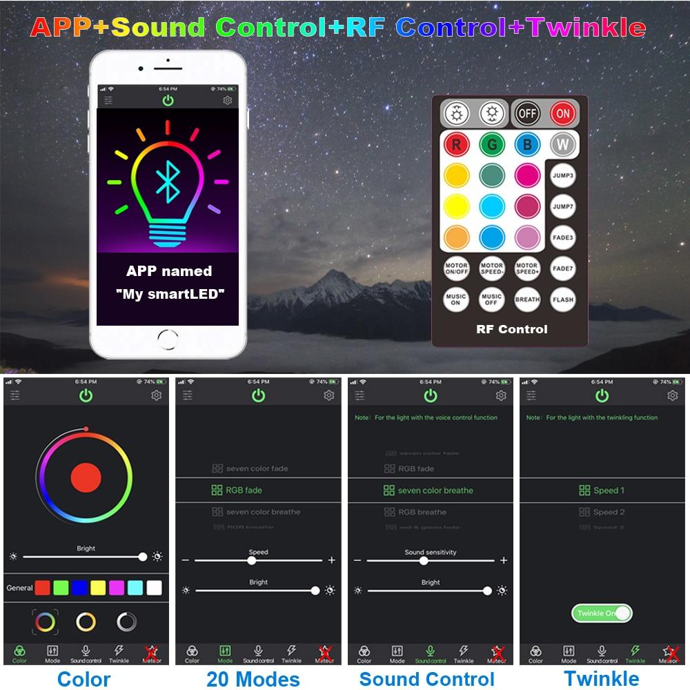 Glasvezel Licht Smart Bluetooth App Controle 32W Twinkle Rgb Plafond Sterren Lichten 800 Pcs Kabel Met Schieten Meteor effect - 3