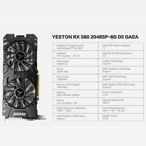 Image 5 - Yeston radeon rx 580 gpu 8gb gddr5 256bit gaming desktop computador pc vídeo placas gráficas suporte DVI D/hdmi/dp pci e x16 3.0