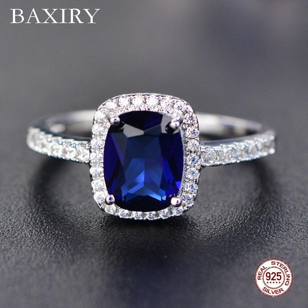 Модное кольцо с аквамариновым аметистом 925 пробы Серебряное кольцо с драгоценным камнем натуральное для ювелирных изделий синее серебряно...
