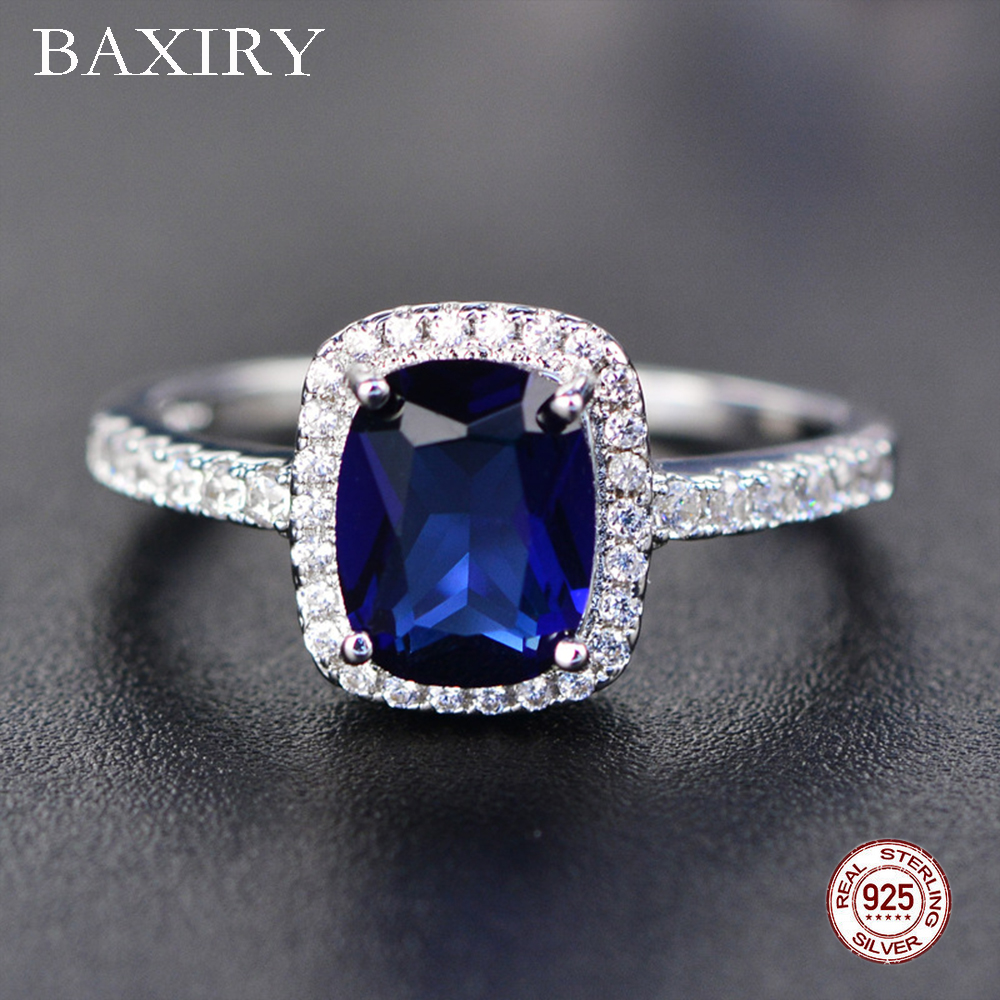 Trendy Aquamarine Amethyst Ring 925 Sterling Silver Gemstone Ring Natural For Jewelry Blue Sapphire Silver Ring Party(China)