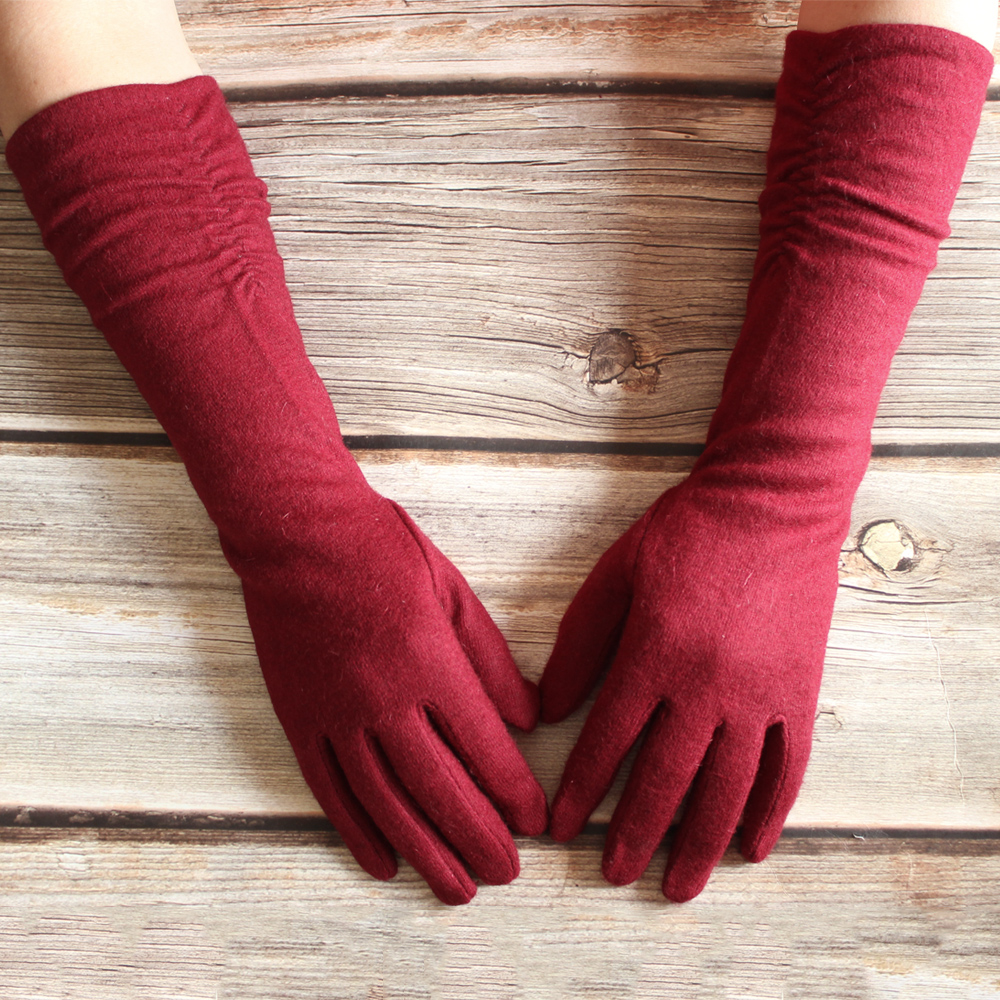 New Women Cashmere Gloves Long Colour Knitted Elastic Fashion Warm Winter Gloves Bickmods