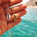 Женское винтажное ожерелье в форме раковины, золотистого/серебристого цвета, простое ожерелье с подвеской в форме раковины для океанов и пл...