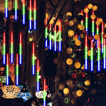 Waterproof Outdoor Lighting 30cm Meteor Shower Rain Tubes USB Charged LED Christmas String Light Party Garden Tree Decor D30 30cm 10 tubes waterproof meteor shower rain tubes rgb 360 led light lamp solar power christmas light wedding garden decoration