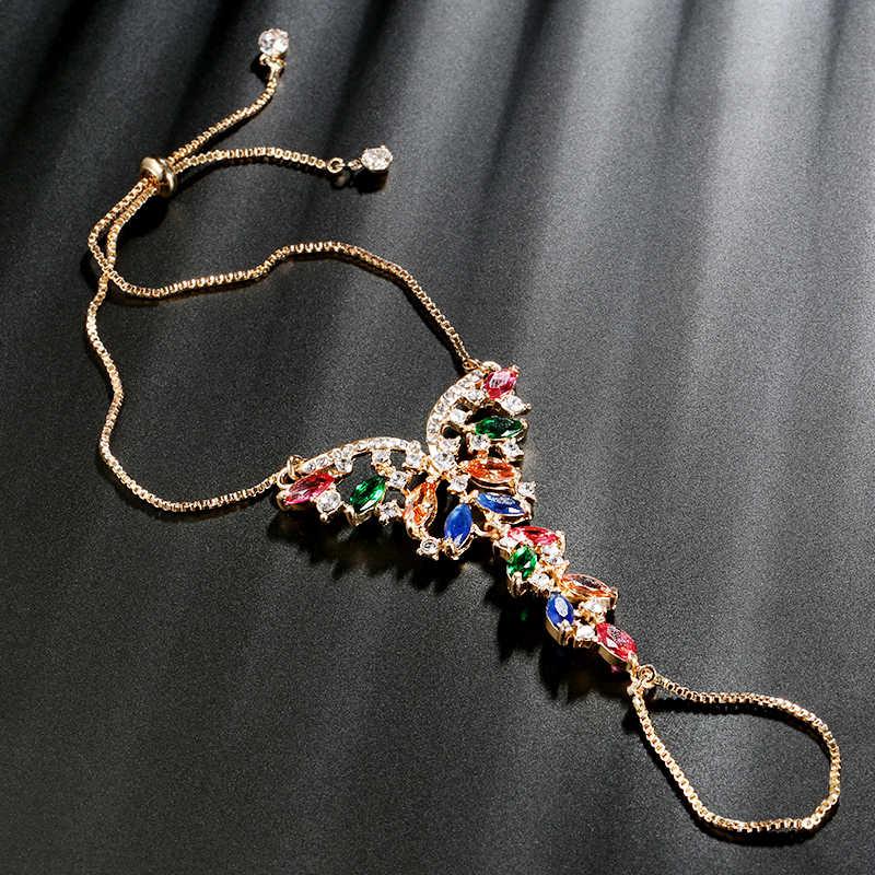 Kinel יוקרה הודי תכשיטי אופנה זהב ציפוי צבעוני זירקון צמיד לנשים בציר חתונה תכשיטי המפלגה קריסטל מתנה