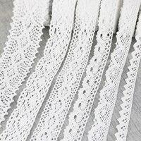 Cinta de encaje bordado de algodón blanco, tejido de red embellecedor, costura artesanal, materiales, DIY, 5 metros por rollo