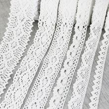 (5 metros/rollo) encaje bordado de algodón blanco tela de red de corte DIY costura hecha a mano materiales de la cinta artesanal