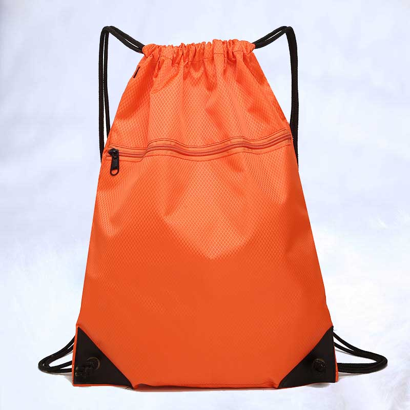 New Fashion Rope Drawstring Sports Bag Customized Simple Solid Color Bundle Mouth Backpack Refreshing Lightweight Nylon Drawstri