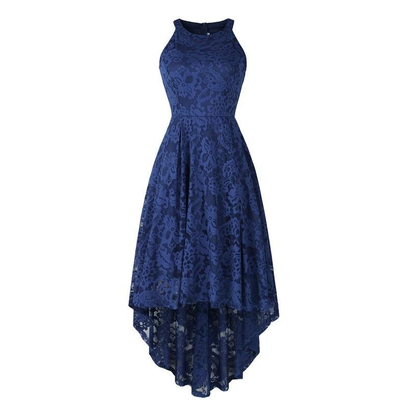 Azul marinho rendas vestidos de baile alta