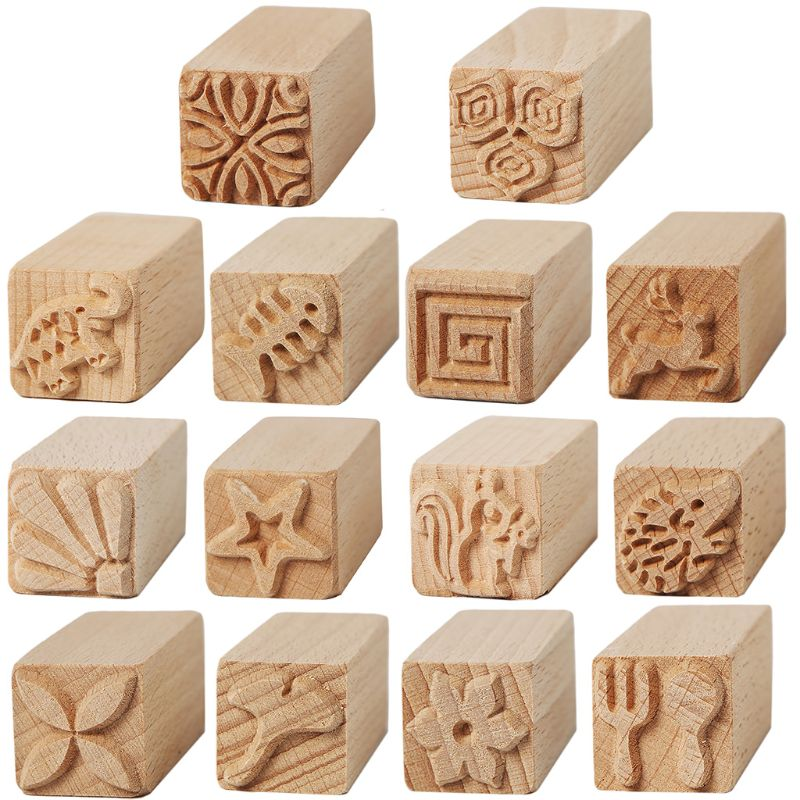 Beech Hand Carved Stamps Leaf Flower Multi-pattern Pottery Printing Blocks Craft