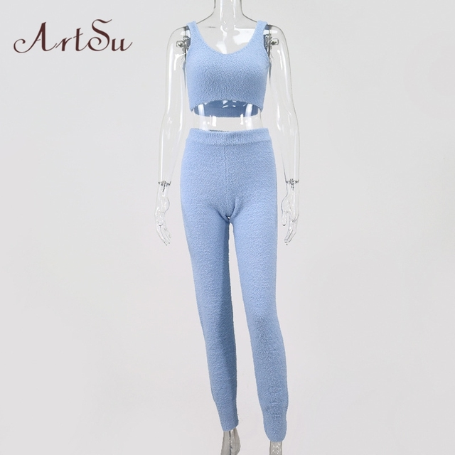 Artsu Winter Fur Two Piece Outfits Sexy Backless Crop Tops Women Outfits Matching Set Top and High Waist Pants Party Clubwear 5