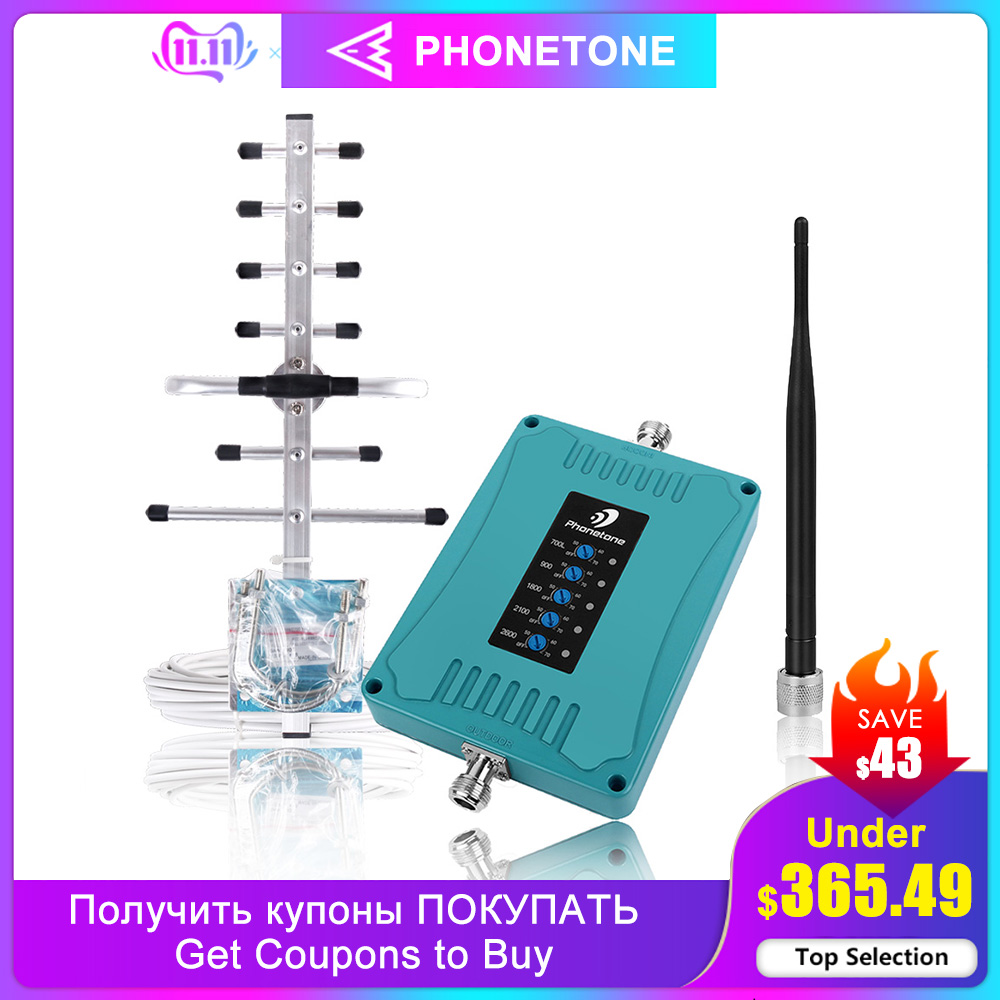 Mobile Five Band Amplifier Gsm 4g 2g 700 900 1800 2100 2600 GSM Repeater DCS WCDMA 2G 3G 4G LTE Cellular Signal Booster Repeater