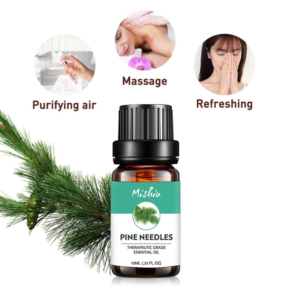 Mishiu 10ML Pine Needles Essential Oil Fragrance Invigorating,Sweating,Massage Therapeutic Grade Aromatherapy Aroma Oil
