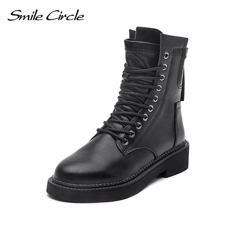 Smile Circle Autumn Ankle Boots Women Flat Platform Shoes Winter Boots Fashion Round Toe Back Zipper Ladies Shoes 2019