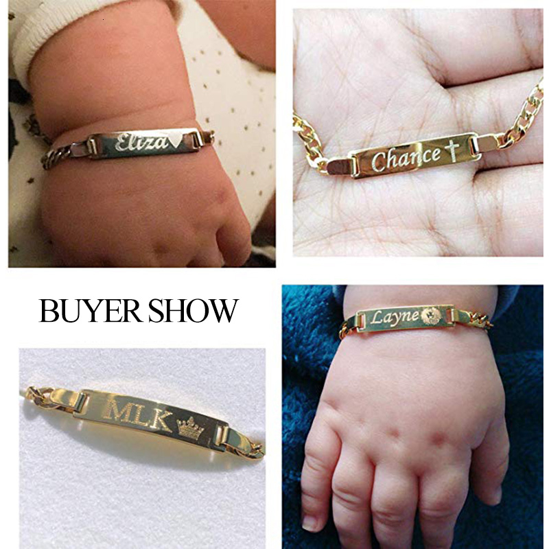 Vnox Personalize Custom Baby Name Bracelet Gold Tone Solid Stainless Steel Adjustable Bracelet New Born to Child Girls Boys Gift