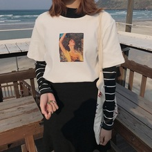 Vogue Women Harajuku Striped Long Sleeve T shirt Tunic Trendy Patchwork Slim Korean Fake Two piece Top 2019 Student white Tee