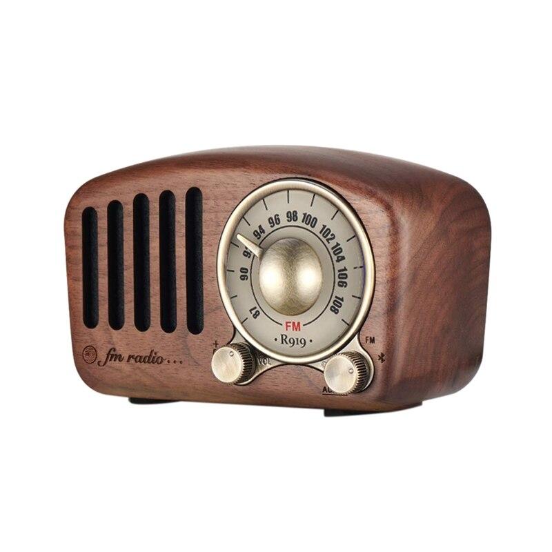 Ffyy-vintage Radio rétro Bluetooth haut-parleur-noyer bois Fm Radio, forte amélioration des basses, Volume fort, Bluetooth 4.2 Aux Tf