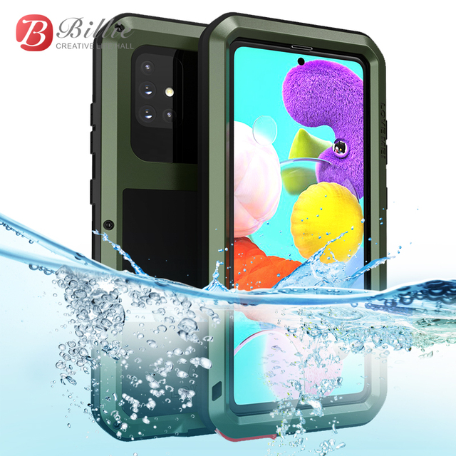 For Samsung Galaxy A51 Case LOVE MEI Shock Dirt Proof Water Resistant Metal Armor Cover Phone Case for Samsung A9611