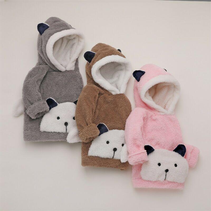 2019 Cute Infant Toddler Baby Boy Girl Hoodies Top Fur Cartoon Print Long Sleeve Pullover Hooded Hoodies Sweatshirt Clothes 3