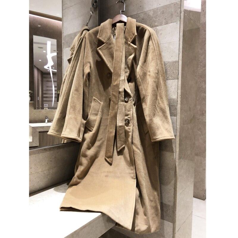 Abrigo de lana informal retro clásico de Invierno para mujer con hebilla de cuerno Chaqueta larga elegante abrigo de alta calidad forrado con cobre amoniaco